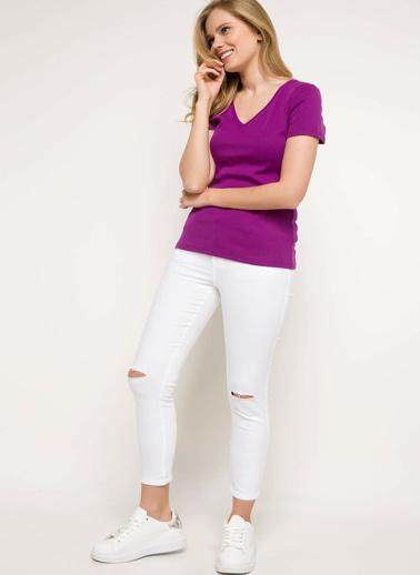 DeFacto V Yaka Basic T-shirt Mor